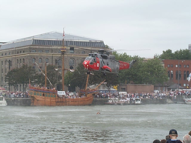 Sea King over the Floating Harbour