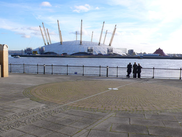 View across Prime Meridian and River Thames towards Millennium Dome