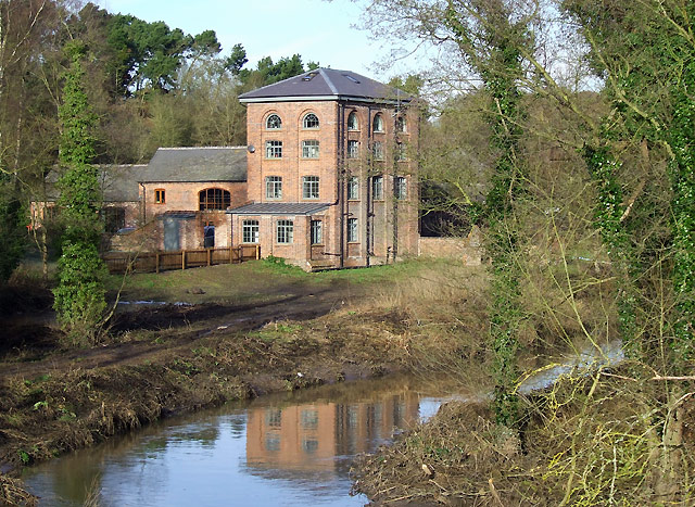 Smestow Brook and Greensforge Mill (winter), Staffordshire