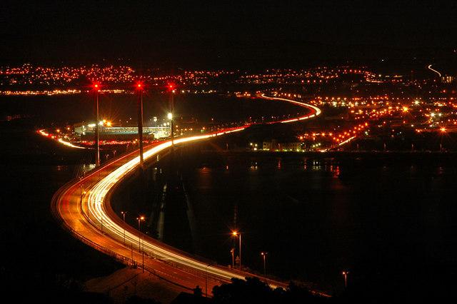 Kessock Bridge at night