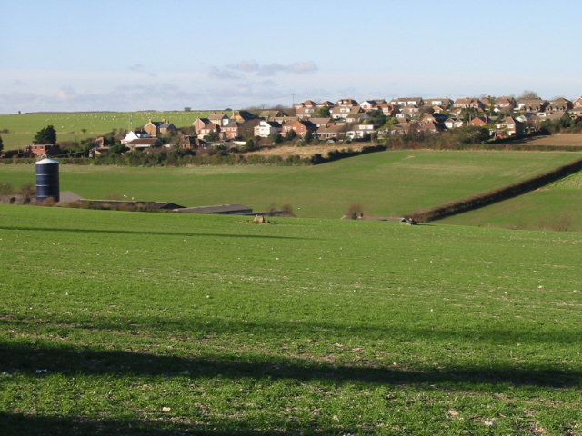 View across the valley to houses on Mill Hill