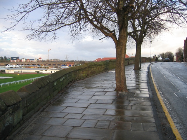 Nuns Road, the city walls, and the '1 Mile' marker