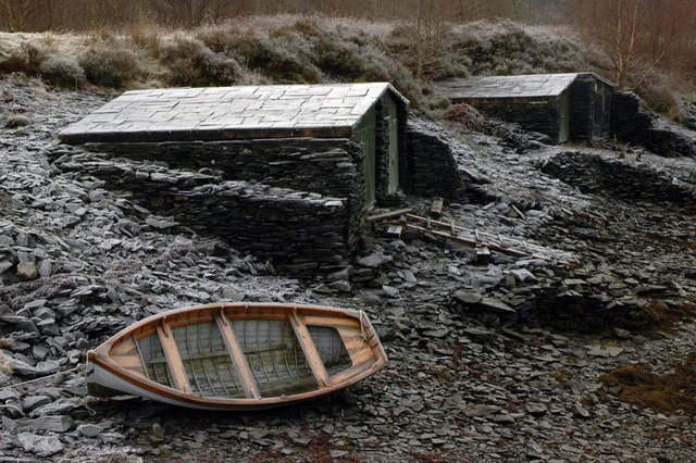 Slate boathouses at Ballachulish