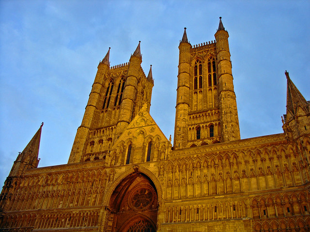 Lincoln Cathedral, West Front, Floodlit
