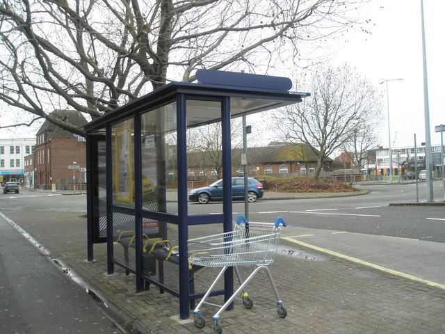 Bus  stop by Commercial Road roundabout