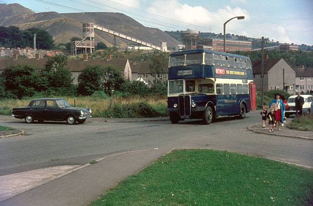 Bedwas Colliery with local bus