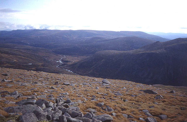 Glen Avon from the summit of Cairn Gorm