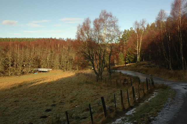 Track to Upper Inverbrough and bridge over Allt Bruachaig