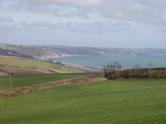 View of Slapton Ley and surrounding farmland
