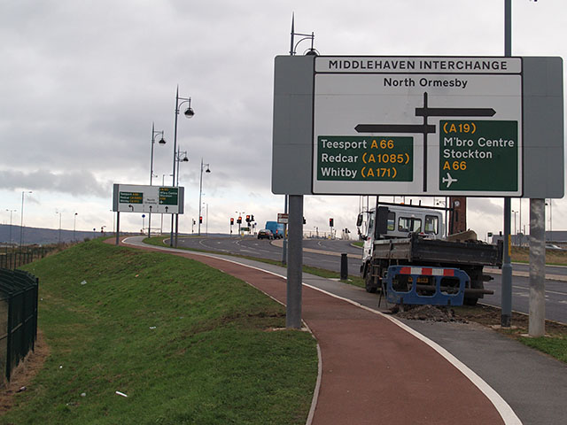Approaching Middlehaven Interchange