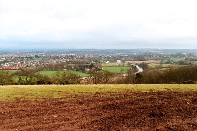 View of River Severn & Lickhill area of Stourport from top of Stagborough Hill
