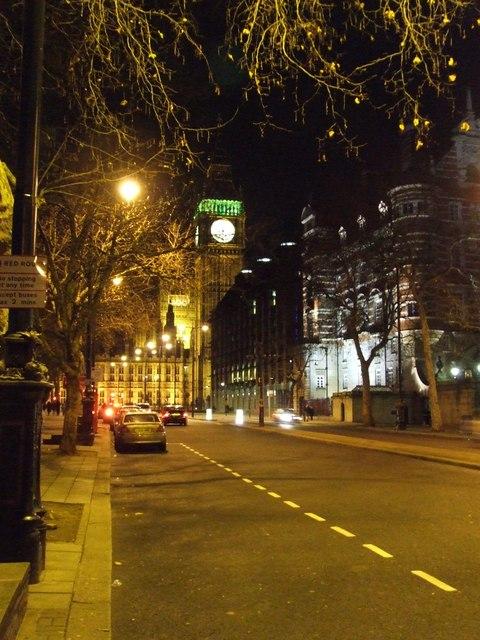 Embankment at night