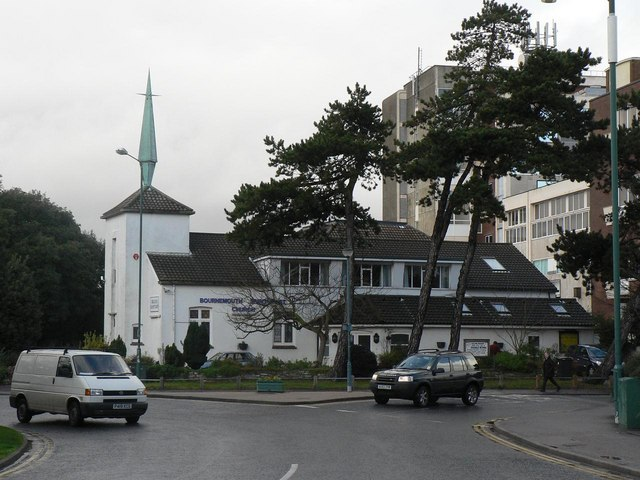Bournemouth: Spiritualist Church and St. Peter's Roundabout