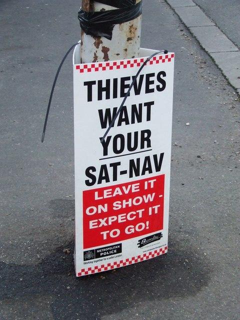 Sat-Nav sign