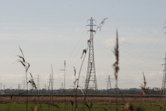 Pylons across Fritton Marsh