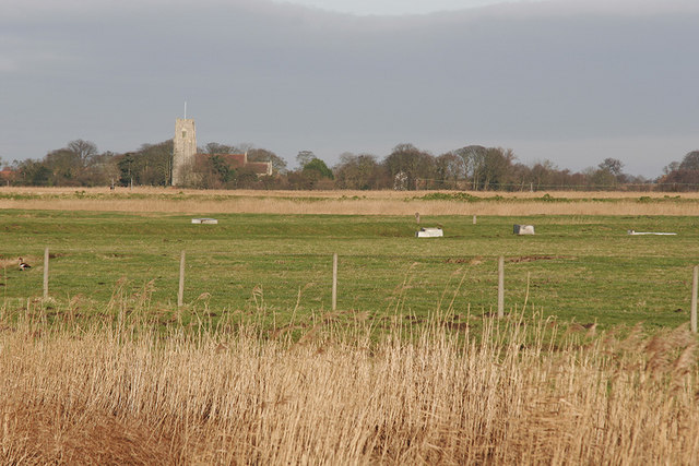 Looking north to Reedham Church from Haddiscoe Cut