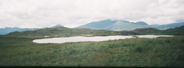 Llyn Yr Adar and the Snowdon range in the distance