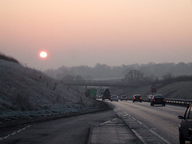 Misty morning, A41, Kings Langley