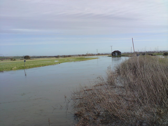 River Yeo at Long Load, in the floods