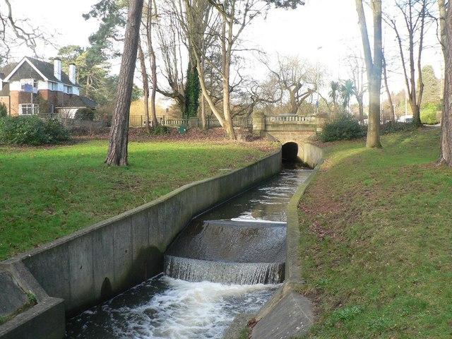 Bournemouth Gardens: concrete channel