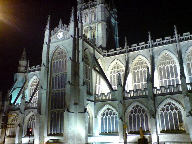 Bath Abbey, north side at night