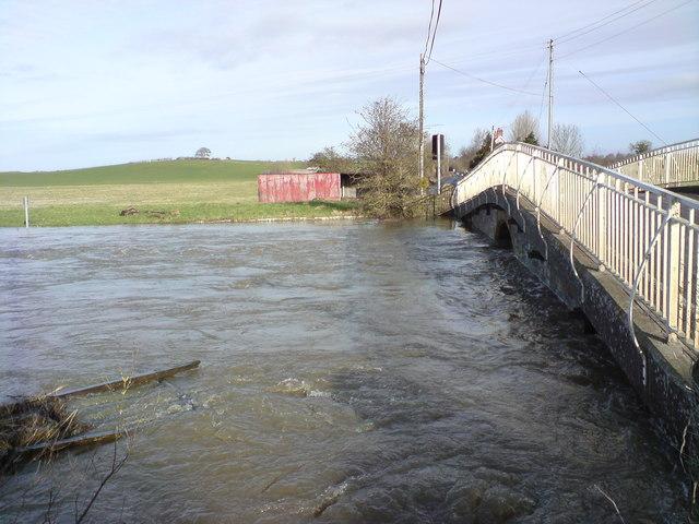 River Yeo flooding at Long Load bridge