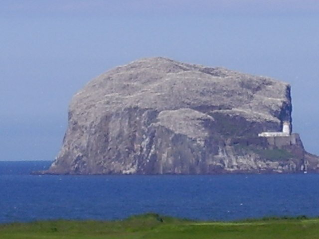 View towards Bass Rock and lighthouse of North Berwick, East Lothian, Scotland