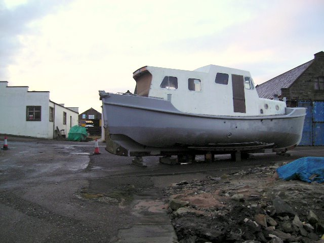 A boat in dry dock at Lossiemouth Harbour