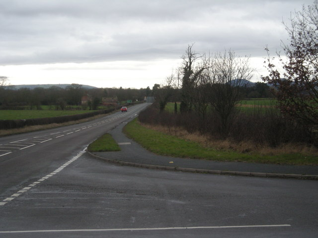 Junction of the B4473 & A458 looking west