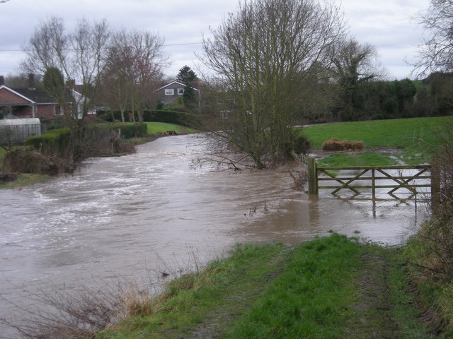 Rea Brook in flood at Hook-a-gate - Jan' 2008