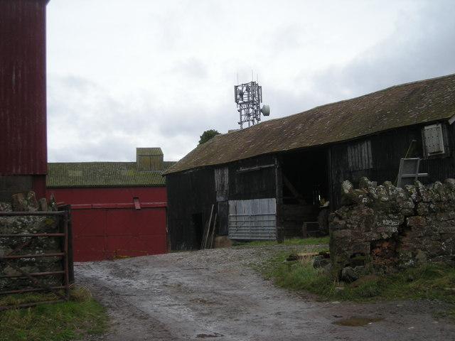 Whitley Grange farm buildings & Mobile phone mast.