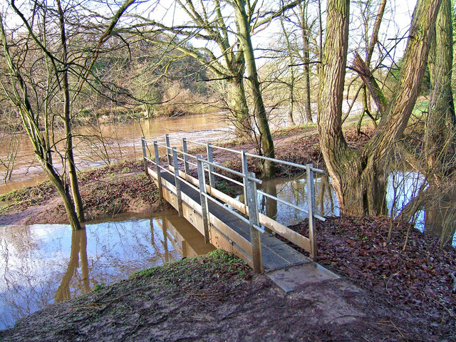 Footbridge over stream feeding River Severn