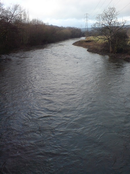 River Aire in flood from the Pack Horse Bridge