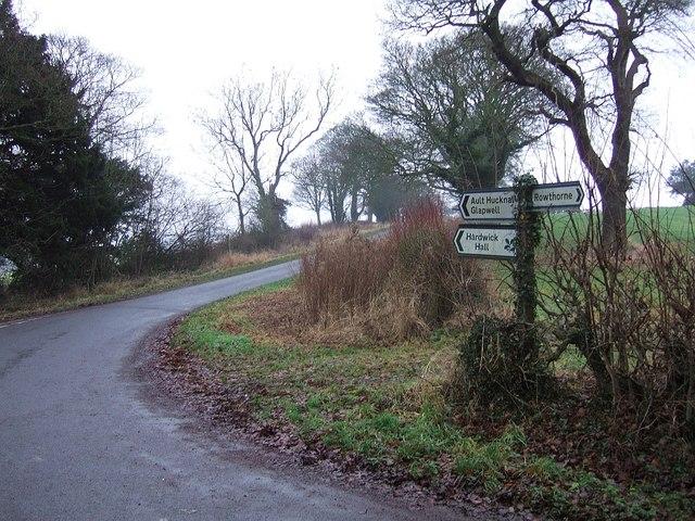 Lane junction near Ault Hucknall