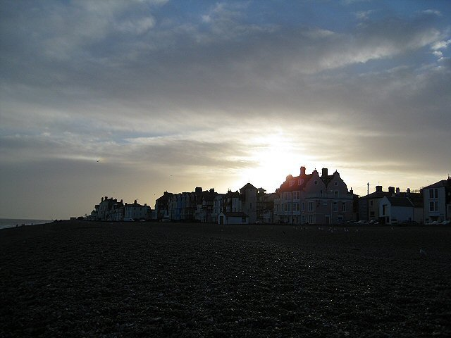 Setting winter sun on the sea front houses