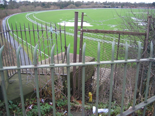 Blocked footpath and the Roodee racecourse