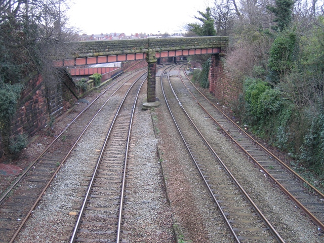 Rail line into Chester through the city walls