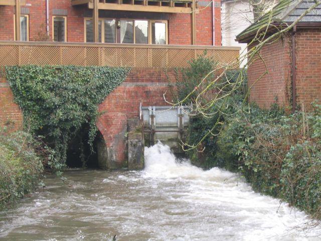 River Test emerging beneath Test Mill