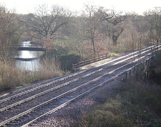 The Blackwater to Sandhurst railway line crossing the River Blackwater