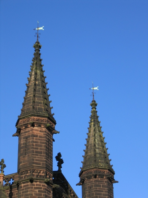 Pinnacles and weathervanes on the Cathedral