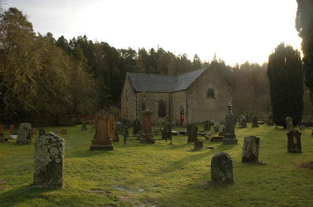 Churchyard and church at Ardclach