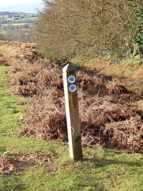 Bridleway marker post on Clee Liberty Common