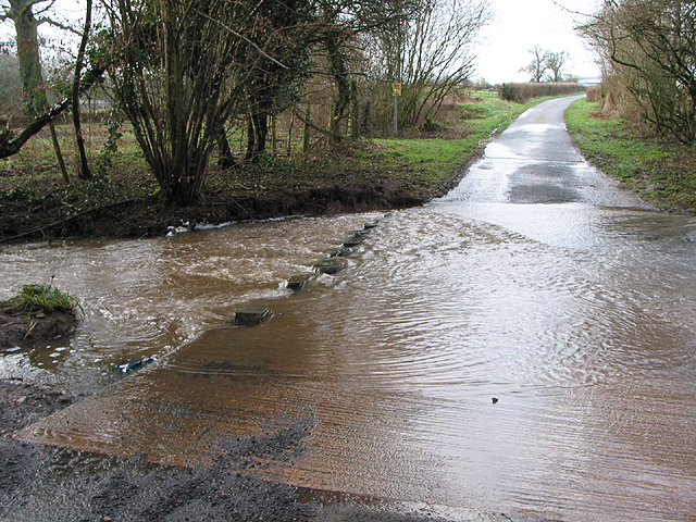 Ford in Oxenhall Lane after prolonged January rain