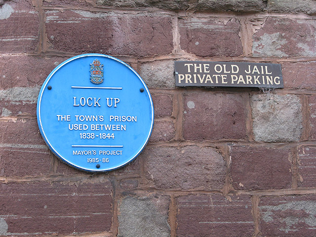 Blue Plaque on The Old Jail, Ross-on-Wye