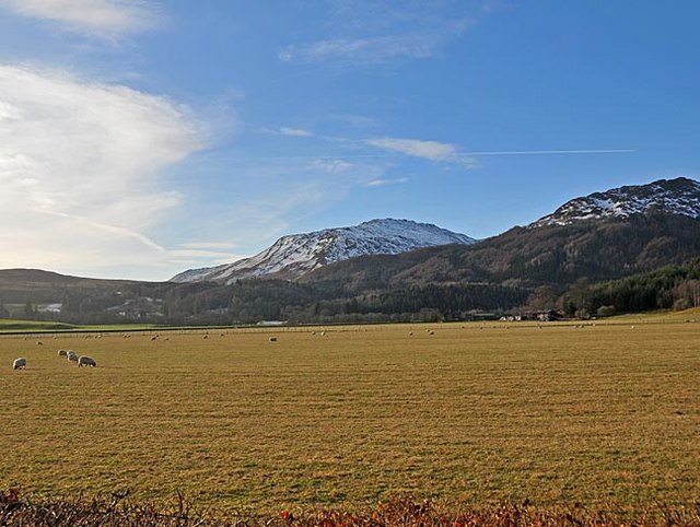 Fields to West of Comrie, Bioran Dalhonzie and Mor Bheinn in the distance