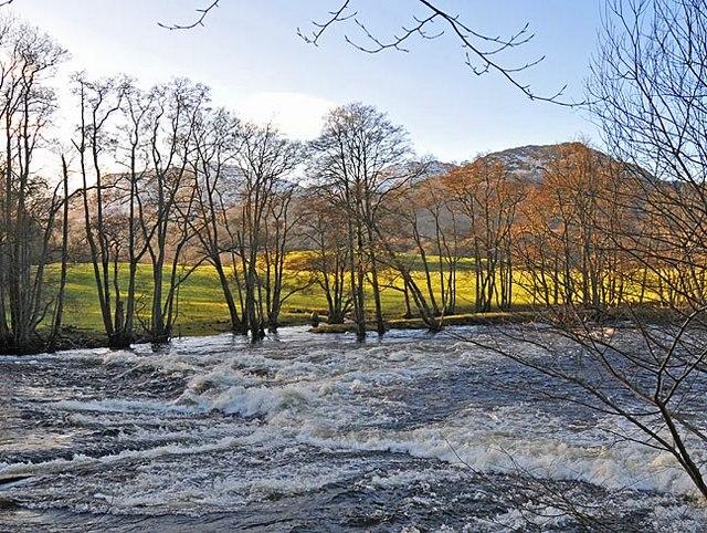 Weir on River Earn near Comrie