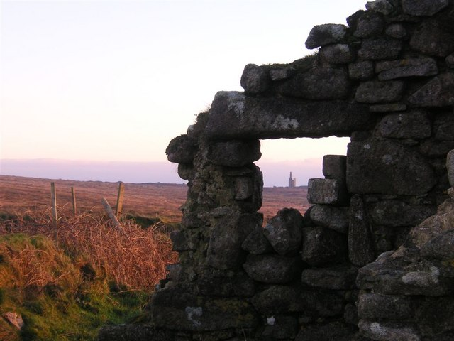 Ruin at sunset, West Penwith moorland