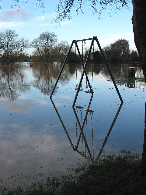 Swings in the floodwater