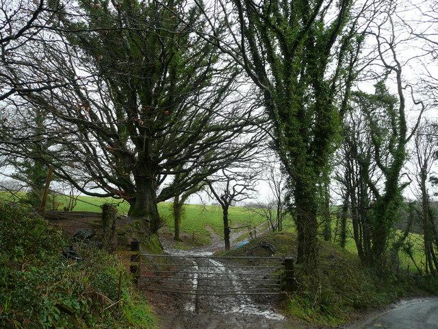 Footpath start near Cabbacott