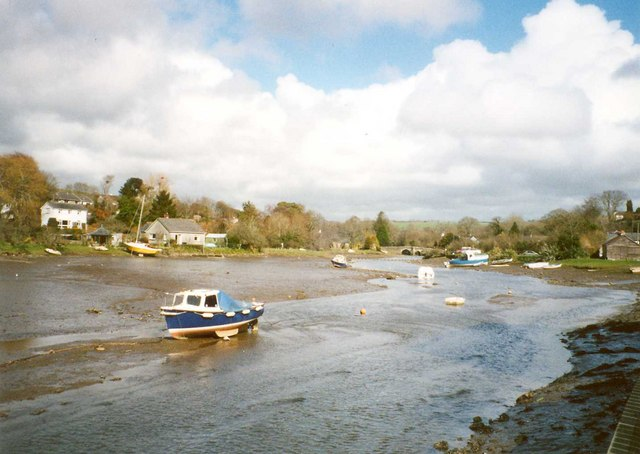 The River Lerryn at low tide, Lerryn, St Winnow